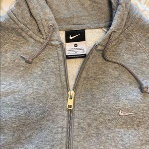 Nike Tops - Nike Heather Grey Full-Zip Hoodie Medium